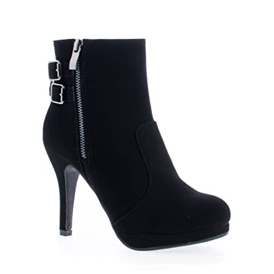 Round Toe Zip Up Low Platform Stiletto Heel Ankle Bootie
