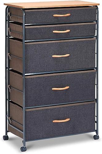 Giantex Drawer Storage Organizer Unit W/Easy Pull Fabric Bin