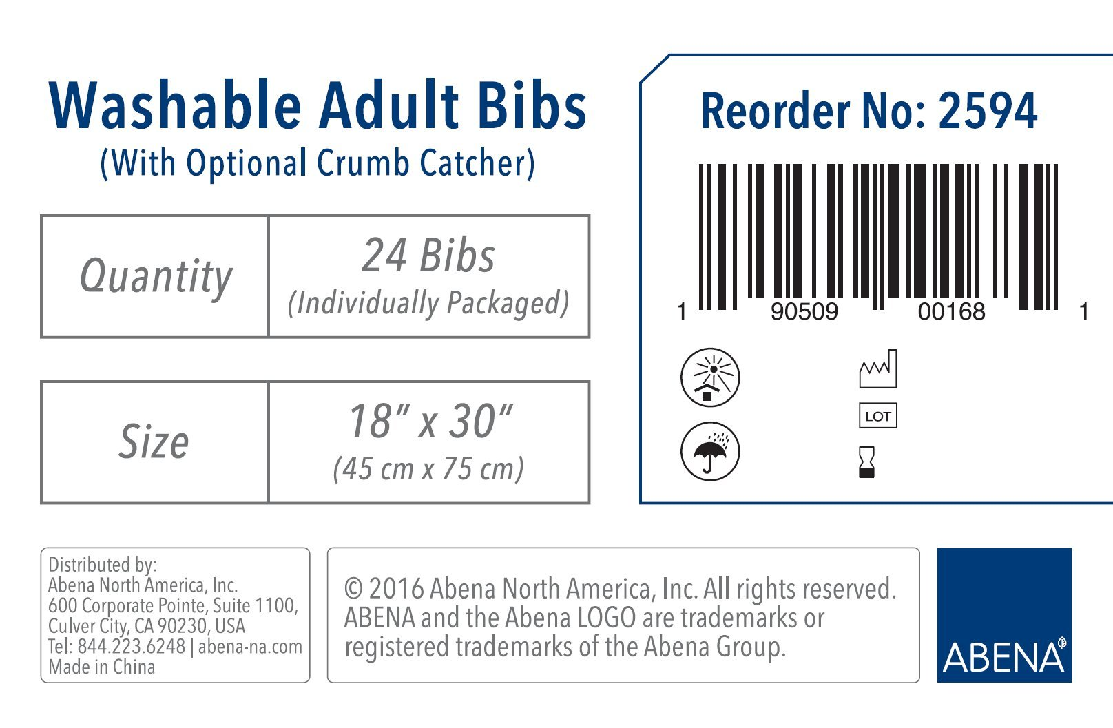 Abena Essentials Washable Adult Bib w/ Crumb Catcher, 18'' x 30'', 24 count