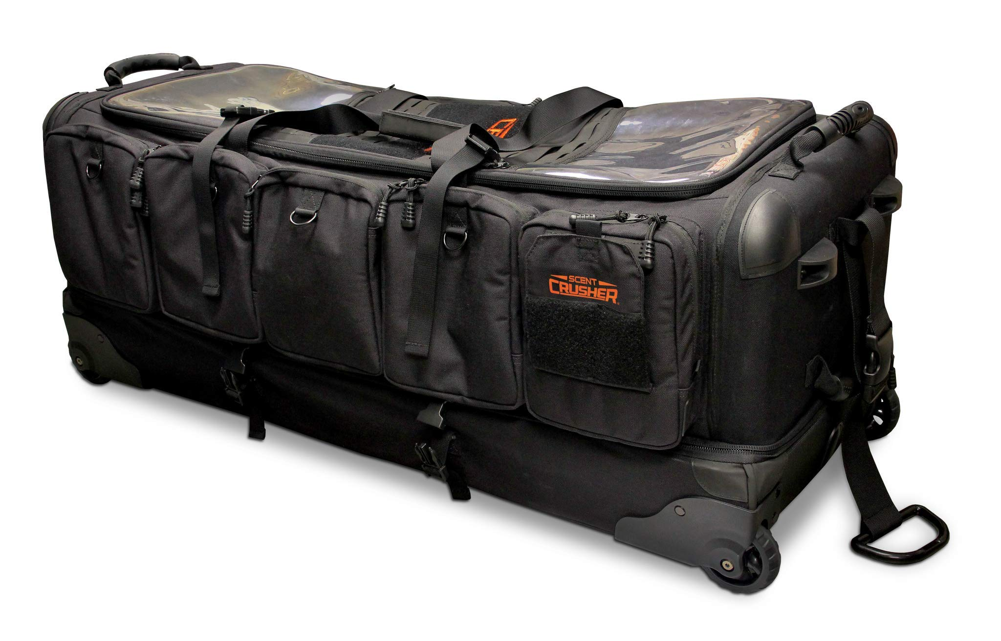 Scent Crusher Pro Series Rolling Bow Transporter - Destroys Odors Within 30 mins, Rigid and Padded Compartment for Bow, Heavy-Duty Oversized All-Terrain Wheels and Skit Plates, Airport/TSA Compliant