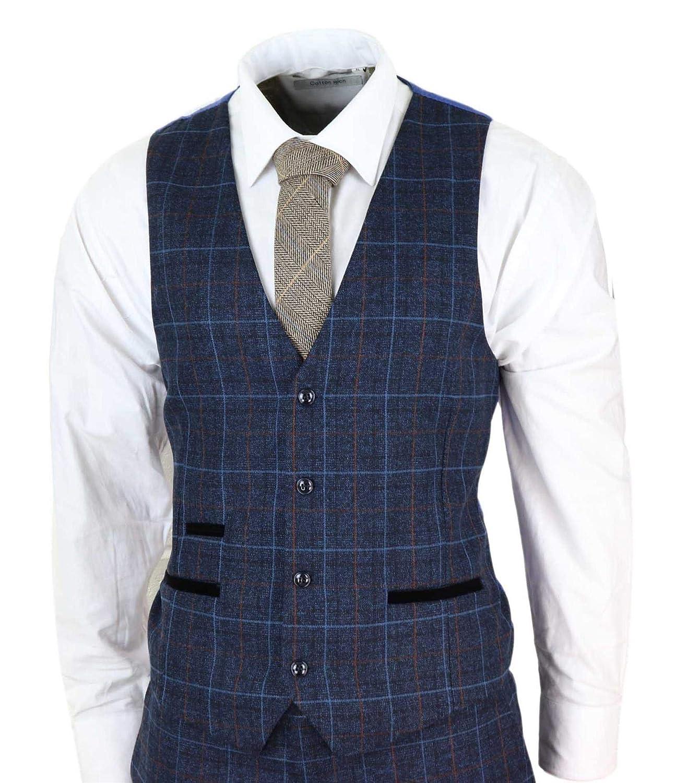 Paul Andrew Mens Navy Blue Tweed Check 3 Piece Suit Double Breasted Waistcoat Peaky Blinders Vintage Navy Blue