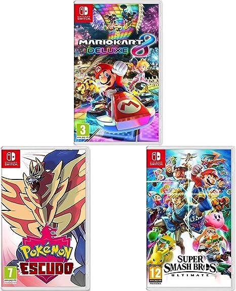 Nintendo Mario Kart 8 Deluxe + Super Smash Bros. Ultimate + Pokémon Escudo Switch: Amazon.es: Videojuegos