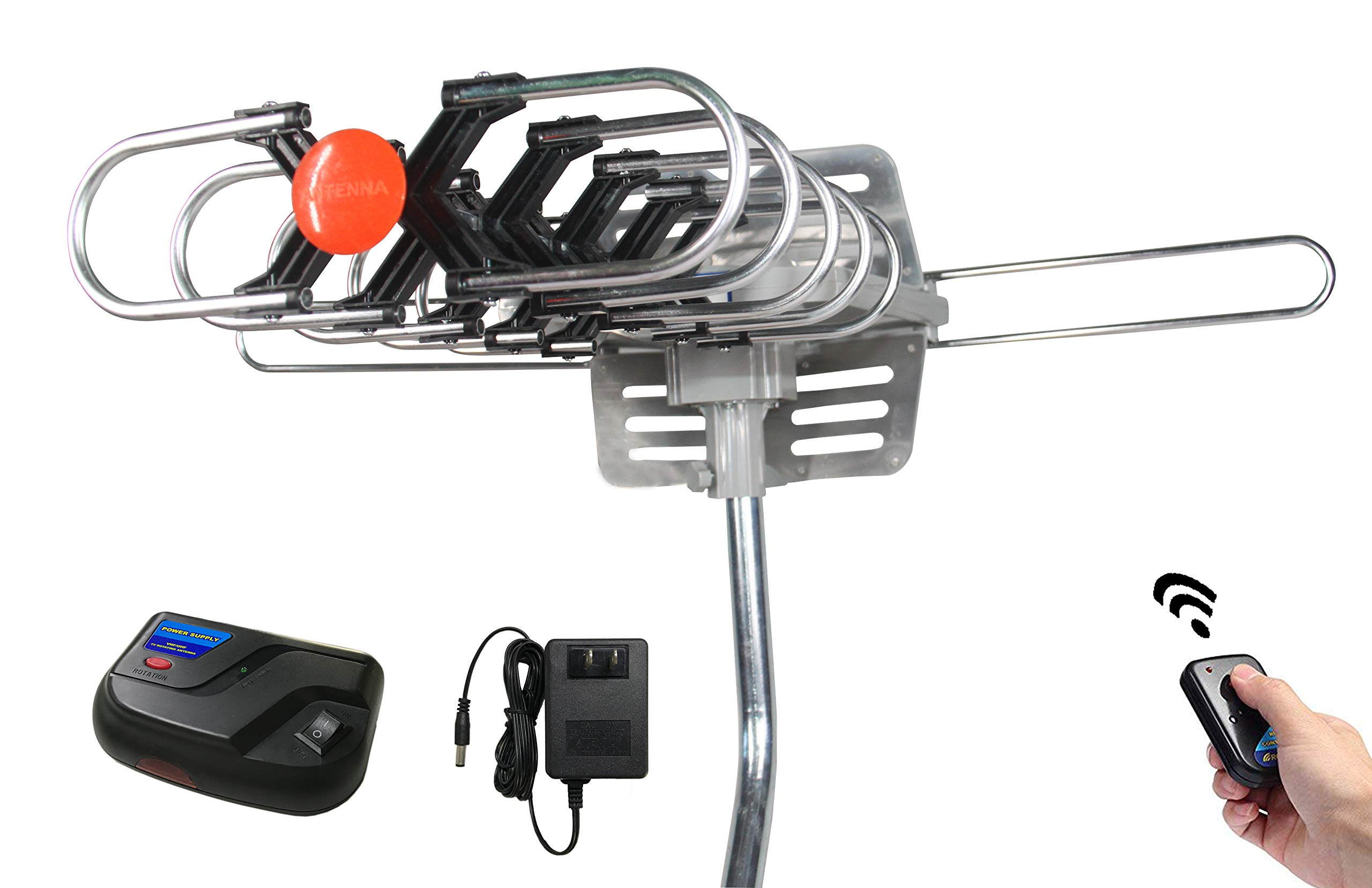 Outdoor Amplified Digital HDTV Antenna - Premwing 150 Miles Long Range Skywire TV Antenna HD Amplifier for Free Channels FM/VHF/UHF Signal, Dual TV Outputs Support & Include Adjustable Mount Pole
