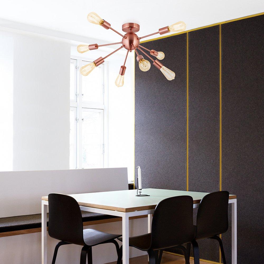 FLYER5 Sputnik Chandelier 12 Lights Industrial Vintage Pendant Lighting Brushed Nicke CHITBIT