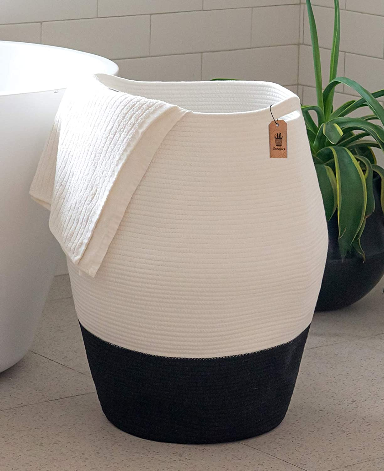 Goodpick Large Laundry Hamper | Tall Wicker Hamper Laundry Basket, Soft Cotton Rope Woven Hamper, Modern Design Graceful Curve Basket 25.6 Inches Height