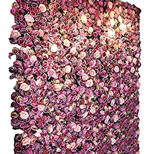 YD Background Wall - Artificial Simulation Rose Wall Board Family Wedding Anniversary Indoor Background Floral DIY Decoration (4 Color Choice) /& 1
