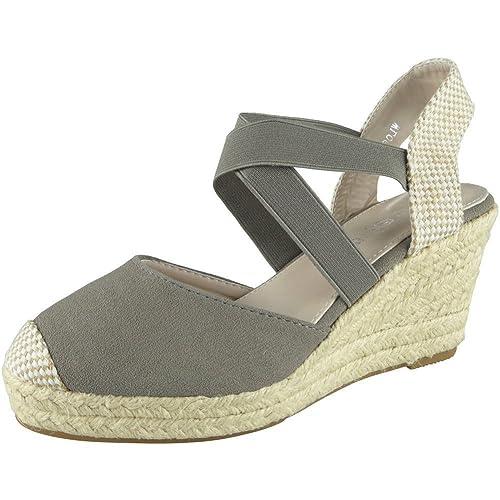 fd232657152 Loud Look Womens Ladies Elastic Strap Hessian Espadrilles Platform Shoes  Wedge Sandal Size 3-8
