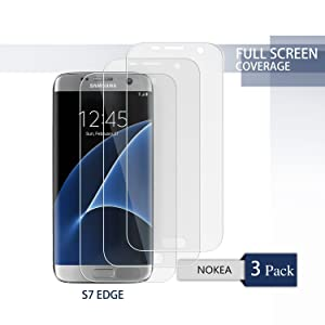 [3 PACK] Galaxy S7 Edge Screen Protector -NOKEA [Ultra High Definition Invisible]Anti-Explosion - Super Flexible Film[Scratch Resist] - Full Screen Coverage - HD Ultra Clear Film (For S7 Edge)