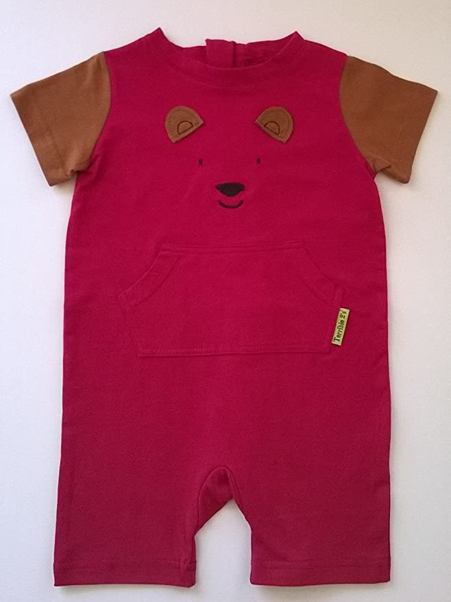d7e5644952e3 Amazon.com  No More Unwanted Undressing! One-Piece Bear Romper with a Back  Zipper in Pink Brown  Clothing
