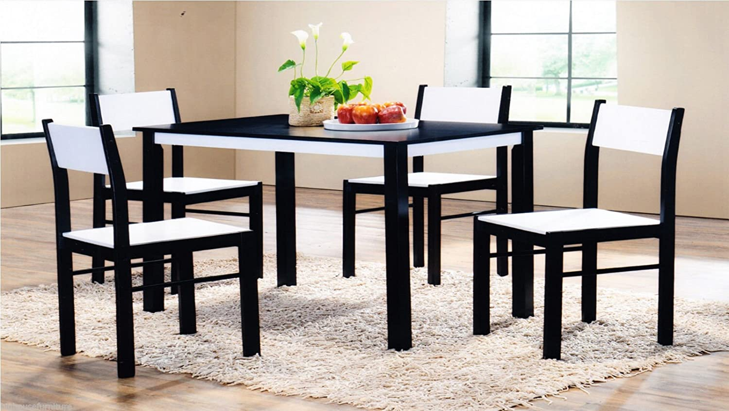 New Quality Wooden Dining Table and 4 Chairs Set Kitchen Furniture  Wenge/White