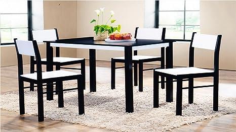Set di 4 sedie e tavolo da pranzo in legno wengé/legno in gomma ...