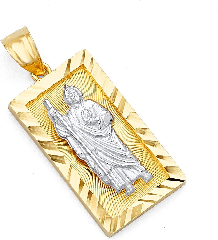 TWJC 14k REAL Two Tone Gold Religious Cross Charm Pendant