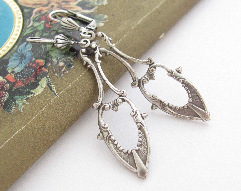 Art Deco Design Earrings Antiqued Silver-tone Dangle Bridesmaid Gift Bridal Wedding