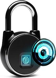 HIMA HOME Fingerprint Padlock (2nd Generation) Bluetooth Connection IP66 Waterproof Upto 40 Fingerprints USB Chargeable Good for Home Door Bag Luggage Gym Lockers Bike Warehouse Pickup Trucks etc