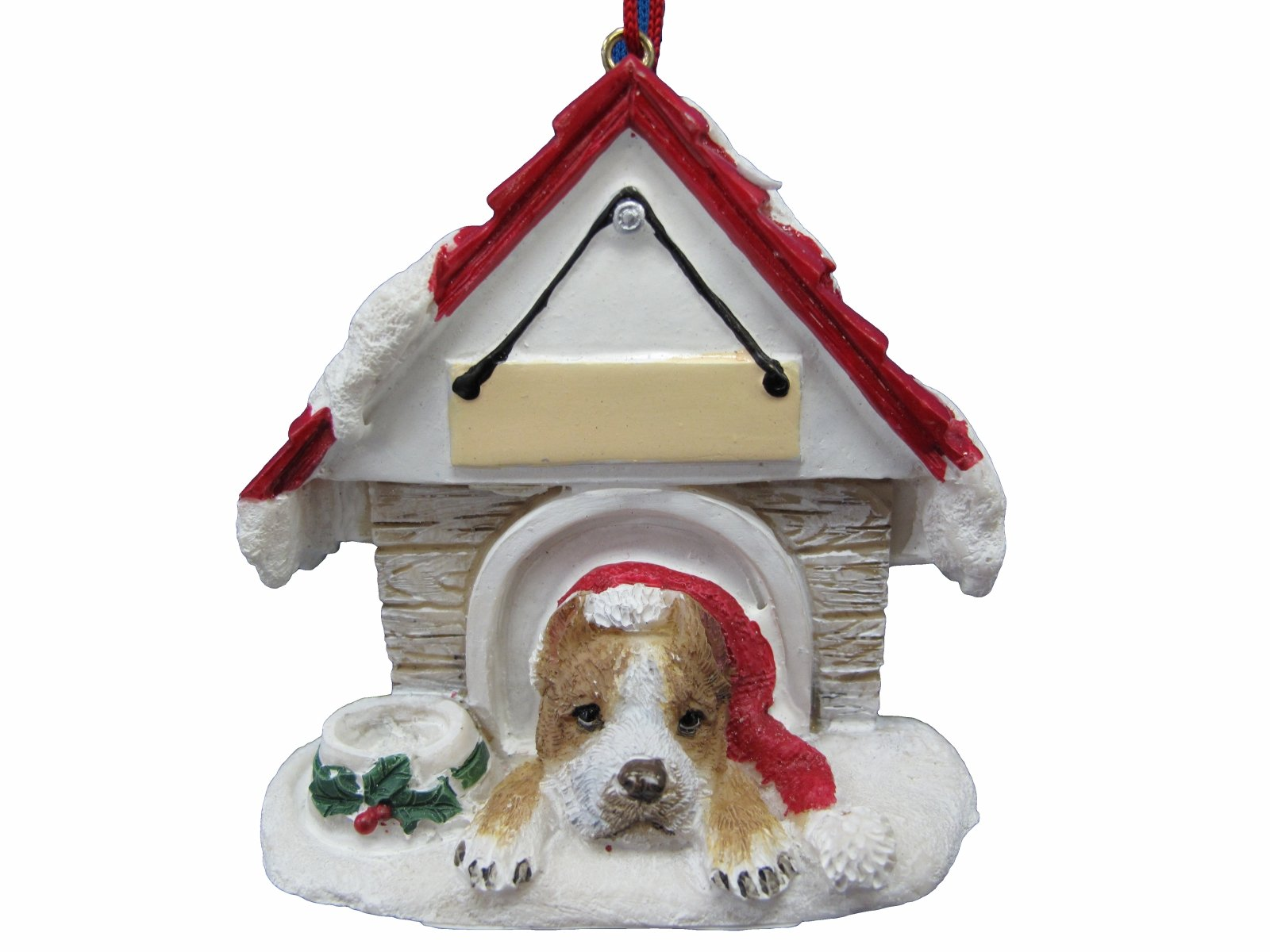 Pit Bull, Tan & White Ornament A Great Gift For Pit Bull, Tan & White Owners Hand Painted and Easily Personalized ''Doghouse Ornament'' With Magnetic Back
