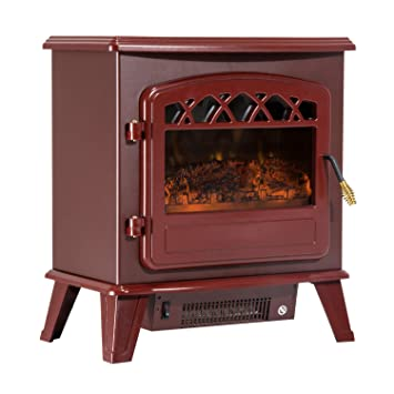 "Buy HomCom 20"" 1500W Free Standing Electric Stove Fireplace Heater with Log Flame Effect - Red: Heaters & Accessories - Amazon.com ? FREE DELIVERY possible on eligible purchases"