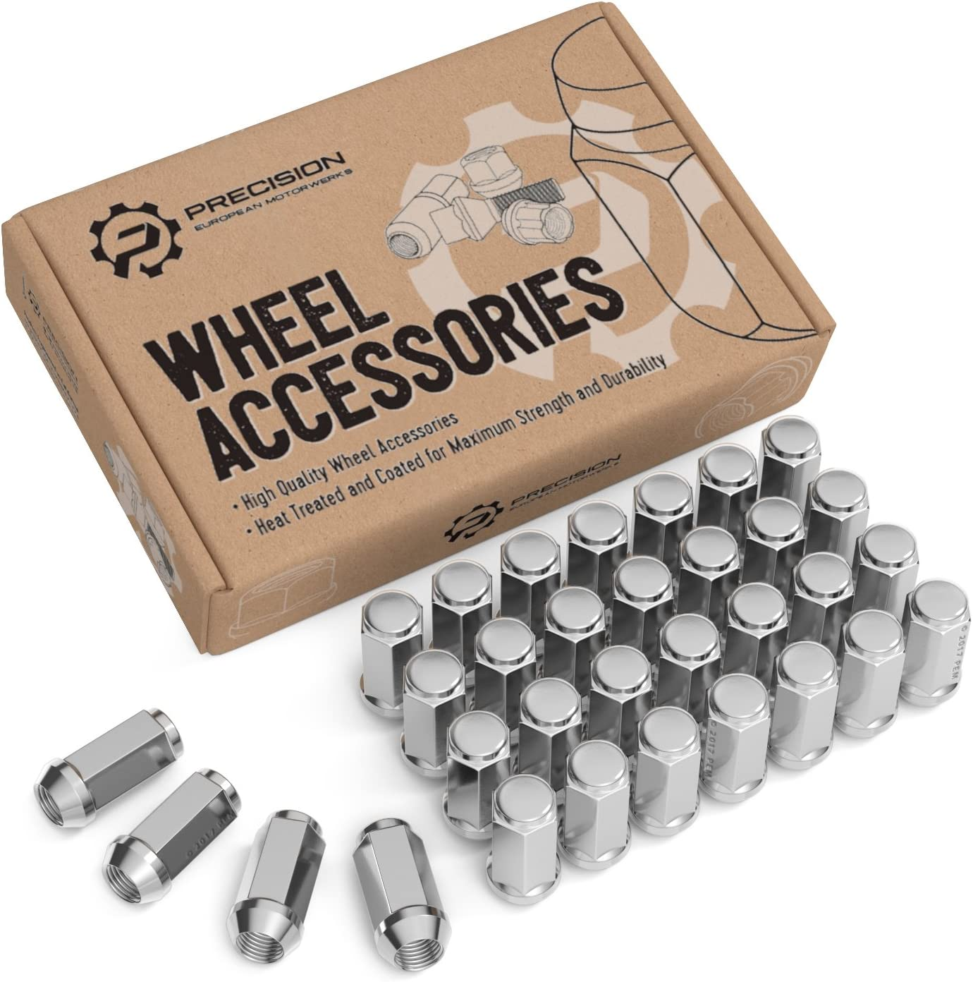 Conical Cone Taper Acorn Seat Closed End Extended fits 8Lug Dodge Chevy Ford 1.8 inch Length Installs with 19mm or 3//4 inch Hex Socket 32pcs Silver Chrome Bulge 1//2x20 Lug Nuts