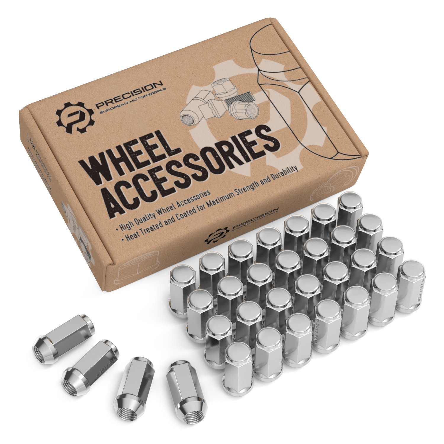 32pcs Silver Chrome Bulge Lug Nuts - 9/16-18 Thread Size - Conical Cone Taper Acorn Seat Closed End Long Extended - 1.8 inch Length - Installs with 19mm or 3/4 inch Hex Socket - for 8Lug Wheels