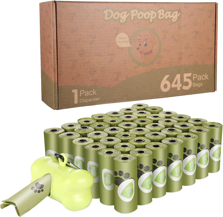 Aokyom 645 Bolsas Caca Perro,Biodegradables Caca Perro Bolsas,Bolsas para Excrementos de Perro con Dispensador,Poop Bag Perro,Extra Grueso,Fuertes,Resistente a Fugas Poop Bag para Mascotas Domésticos