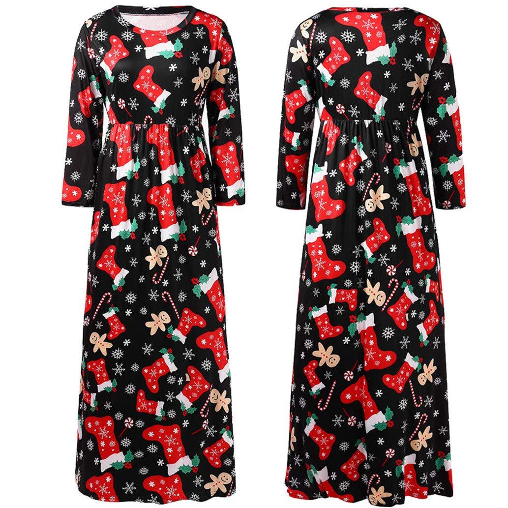 Amazon.com: Vestido de Navidad floral Maxi para mujer ...