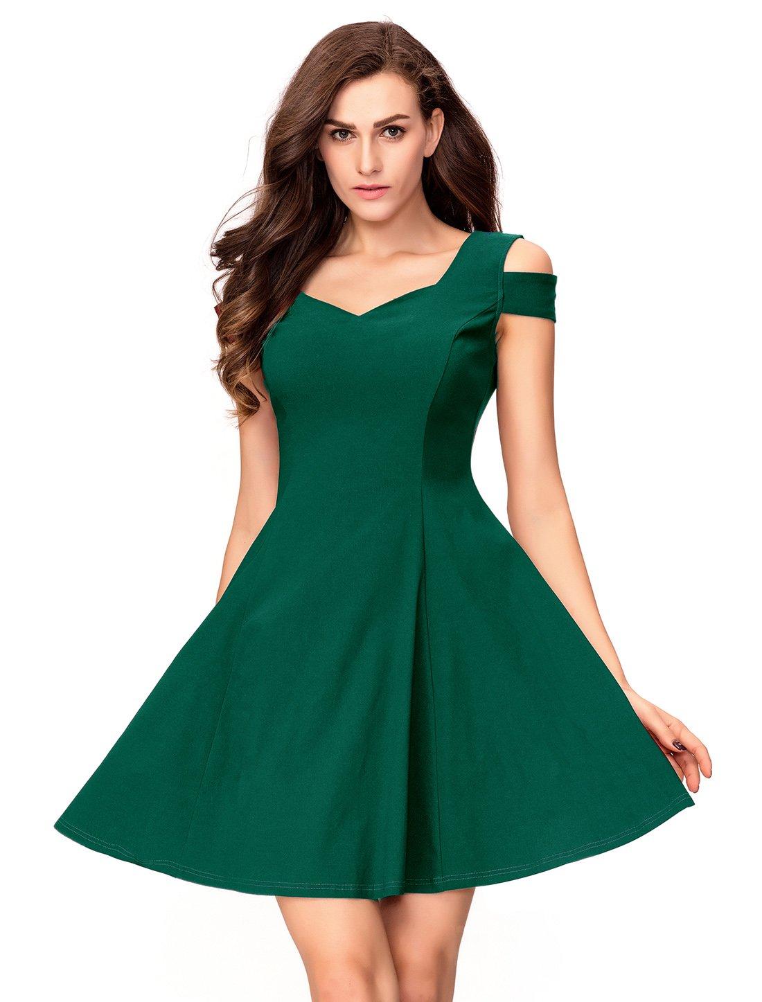 InsNova Cocktail Dresses for Women's Green Off Shoulder Simple Dress xS