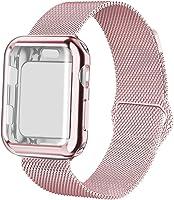 YC YANCH 兼容蘋果手表表帶 38mm 40mm 42mm 44mm 帶外殼,不銹鋼網環表帶 Apple Watch 屏幕保護膜兼容 iWatch Apple Watch 系列 1/2/3/4/5