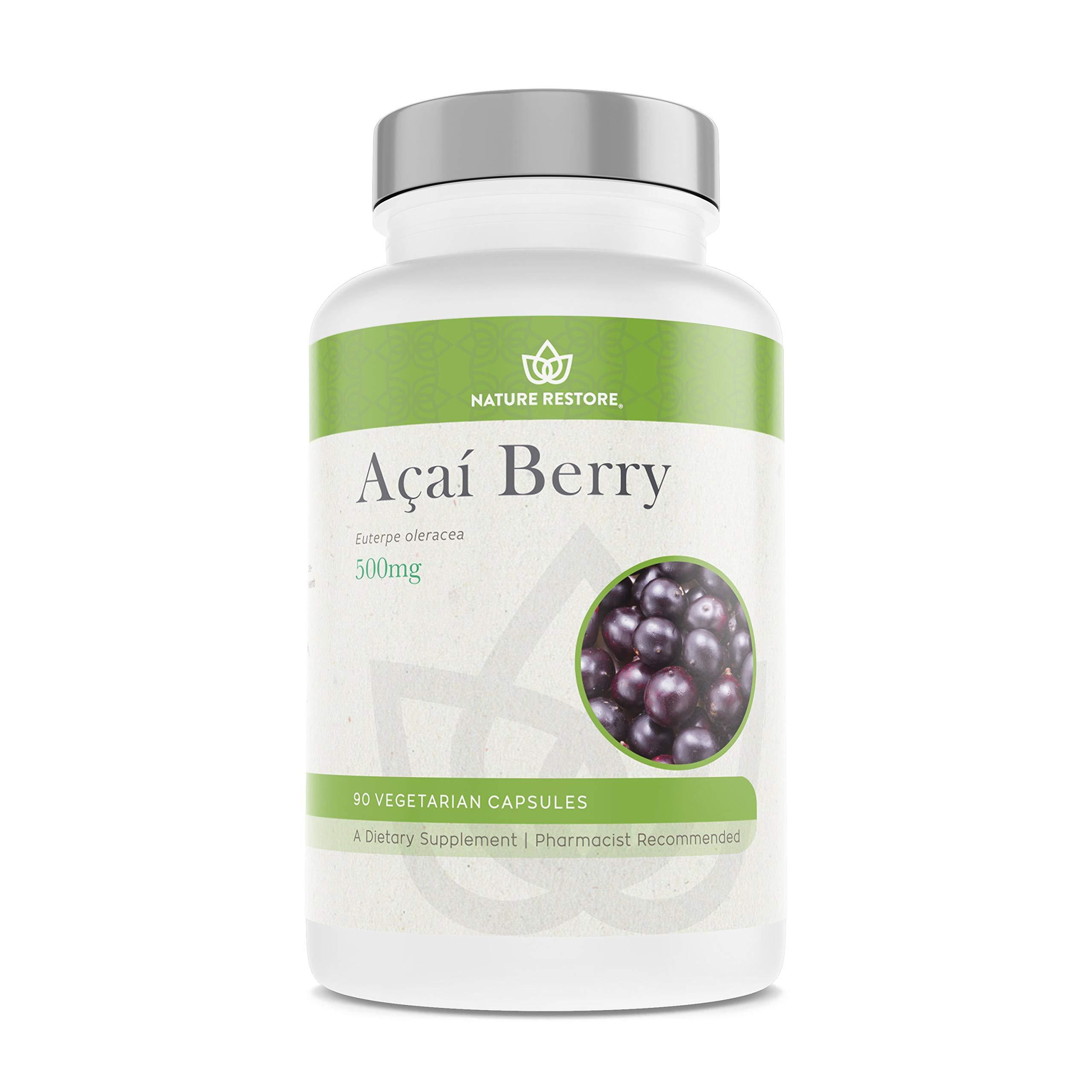 Organic Acai Berry Supplement, Freeze Dried, 90 Acai Berry Capsules, Non GMO, Gluten Free, Vegan by Nature Restore
