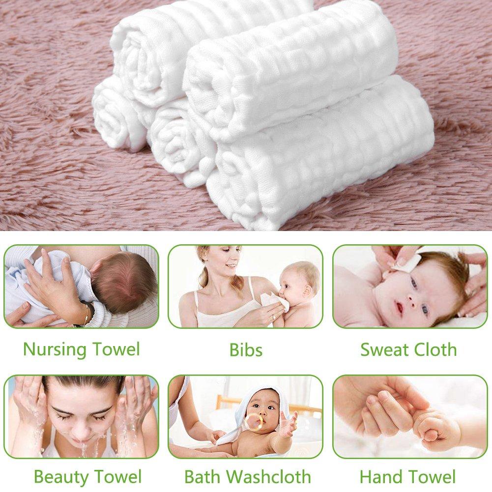 8260c82ef82 Amazon.com : Baby Towels Muslin Washcloths Set - 5 Washcloths & 1 Large  Baby Blanket Bath Towel of 6 Layers 100% Medical Grade Cotton Gauze, Natural  ...