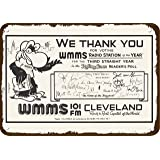CHHO Tin Sign 1982 WMMS 101 FM Cleveland #1 Rock Radio Station Vintage Look Replica Metal Sign Home Decor 8x12 Inch