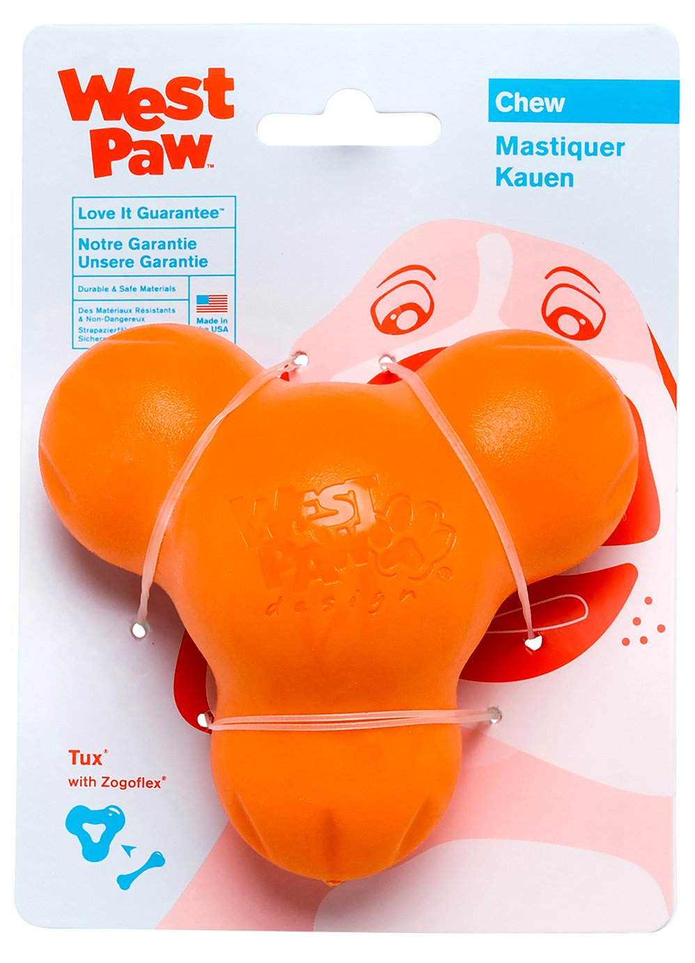 West Paw Zogoflex Tux Interactive Treat Dispensing Dog Chew Toy for Aggressive Chewers, 100% Guaranteed Tough, It Floats!, Made in USA, Large, Tangerine