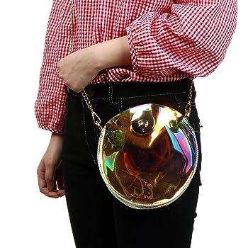 Women Transparent Hologram Crossbody Purse Handbag Shoulder Bag Shining Cross Body Bag with Chains