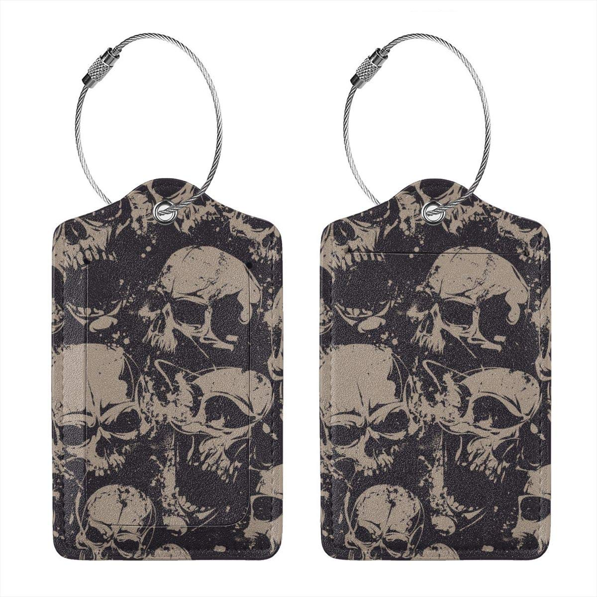 Skulls Grunge Travel Luggage Tags With Full Privacy Cover Leather Case And Stainless Steel Loop