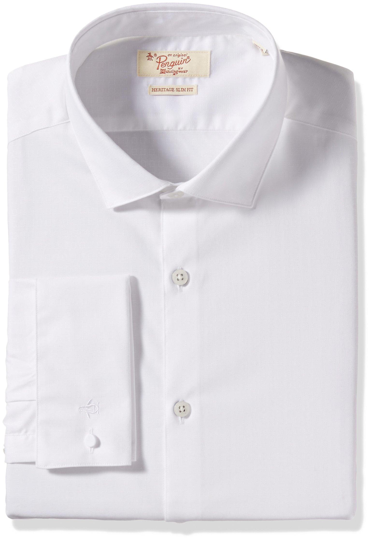 Original Penguin Men's Slim Fit Performance Spread Collar Stripe Dress Shirt, White, 15.5 32/33 by Original Penguin