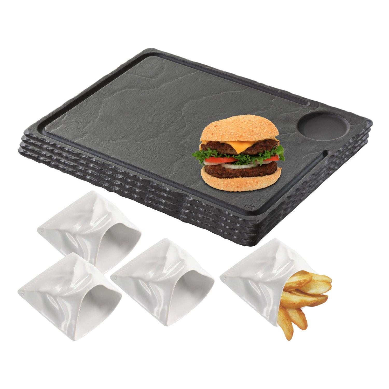 Revol Basalt Slate Porcelain Burger Plates with French Fries Bag, Service for 4