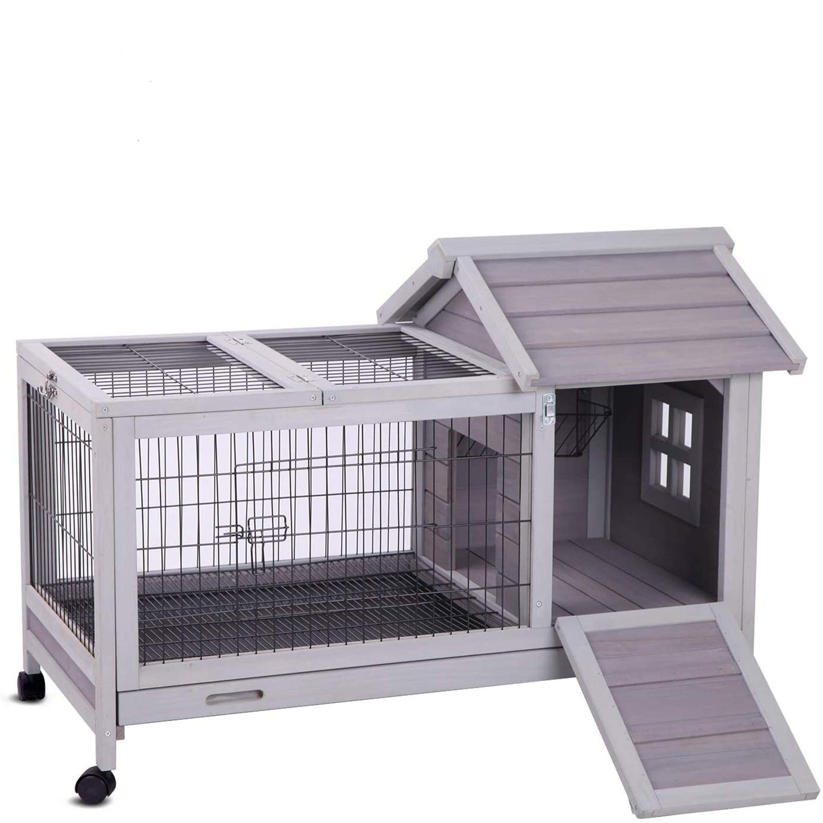 Aivituvin Rabbit Hutch Indoor Bunny Cage Outdoor with Deeper No ...