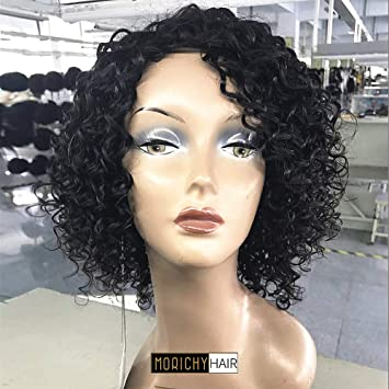 Amazon.com   Morichy Hair Human Hair Wigs for Women 100% Unprocessed  Brazilian Virgin Hair Short Curly Wig None Lace Front Wig Natural Black  Color 12inch ... 296538544