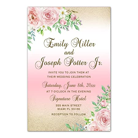 100 Wedding Invitations Personalised Pink Gold White Roses