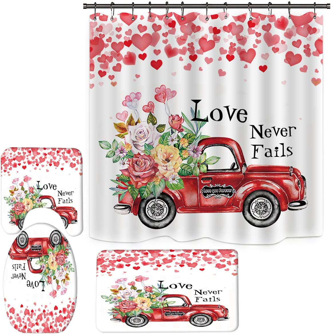 Valentines Shower Curtain for Bathroom, Red Truck Rose Shower Curtain for Bathroom Decor Sets with Bath Rugs, Romantic Valentine Day Bathroom with Non-Slip Rugs and Mats Set (V6)