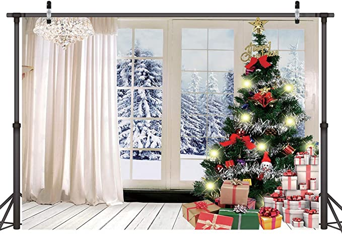 Lywygg 7x5ft Christmas Tree Gift Backdrop Indoor Wooden Floor Curtains Background Snow Tree Outside The Window Photography Photo Backdrop Winter Snowflake Pine Snowy Cp 76 Camera Photo Amazon Com