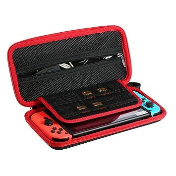 Funda para de Nintendo Switch-Ametoys Bolsa de Nylon Caso de Protección Estuche de Viaje Impermeable Bolsa con 10 Ranura de Tarjeta de Juego Titular y ...