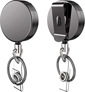 2 Pack Heavy Duty Retractable Badge Holder Reel, Kaptron Metal ID Badge Holder with Belt Clip Key Ring for Name Card Keychain Metal Casing, 26.5 Inch Steel Wire Cord, Reinforced Id Strap