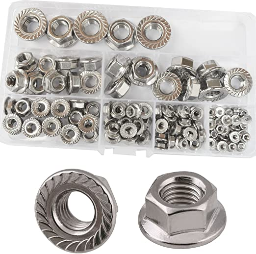 304 Stainless Steel Hilitchi 140-Pcs M3 M4 M5 M6 M8 M10 M12 Hex Flange Nuts Assortment Kit