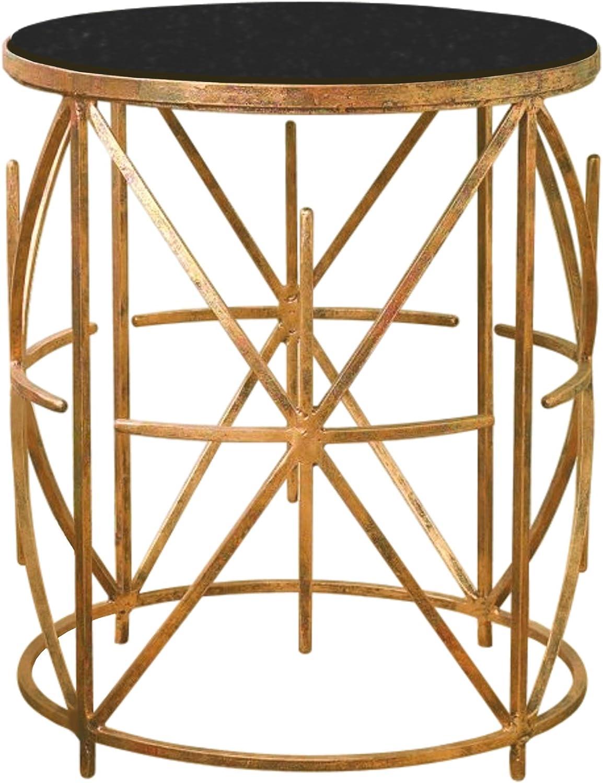 MY SWANKY HOME Mid Century Granite Top Iron X Side Table Gold Black Sunburst Starburst Modern