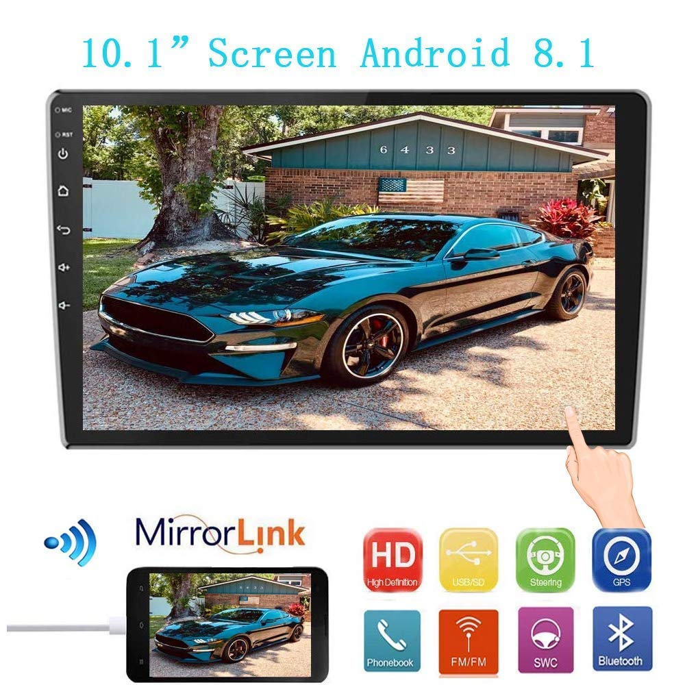 10.1Inch 2.5D HD Double Din Car Stereo Radio Receiver, Android 8.1 Touch Screen MP5 Multimedia, Support GPS Navigation Bluetooth FM Radio+4 Led Lights Rear View Camera&Dual Mirror Link&Sub-woofer by Liehuzhekeji