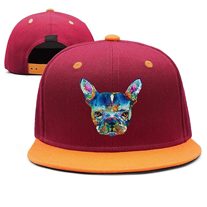 d8fa2ac653210 Colorful French Bulldog Dog Art Snapback Hat Hip Hop Curved Brim Dad Maroon  Funny Cap
