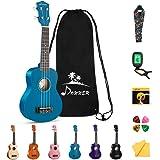 Donner Soprano Ukulele Beginner Kit for Kid Adult Student with Online Lesson 21 Inch Ukelele Bundle Bag Strap String Tuner Pi