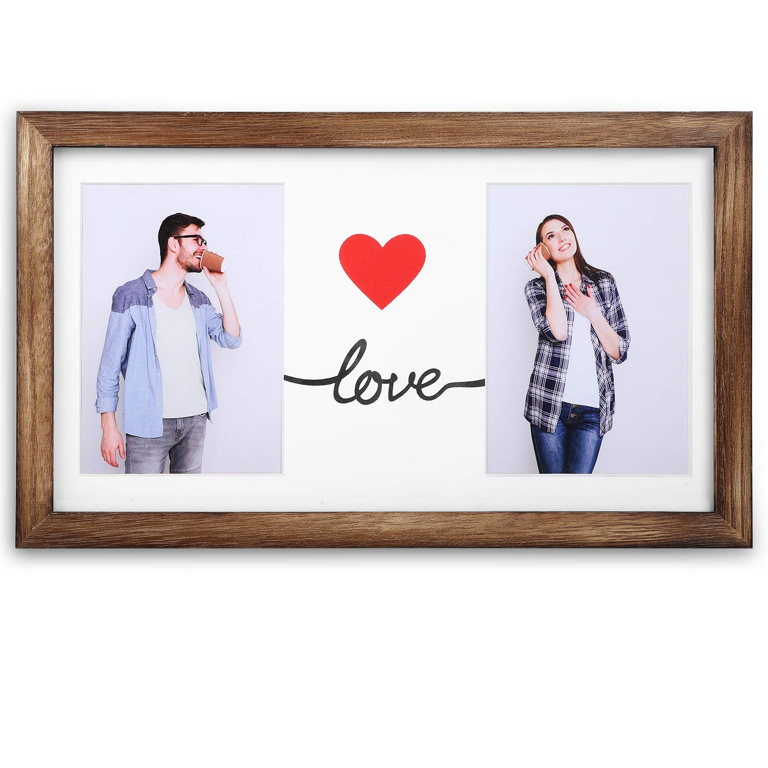 Emfogo 16x9 Picture Frames Display Two 5x7 Photo with Mat Made of Solid Wood & High Definition Glass Wood Picture Frame by Emfogo