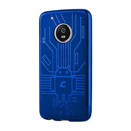 3 opinioni per Cruzerlite Bugdroid Circuit Custodia per Motorola Moto G5 Plus, Blu