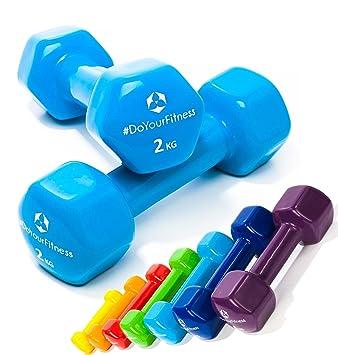Pesas de vinilo »Hexagon« / Mancuernas disponibles en diferentes pesos y colores / 2 kg, azul cielo: Amazon.es: Deportes y aire libre