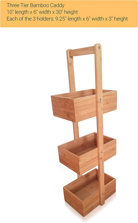 Kitchen Accessory Storage Rack Decorative Living Room Holder SplashSoup Three Tier Bamboo Natural Home Caddy Free Standing Bathroom Organizer Multifunctional Compartment Shelf Bins JL-S008